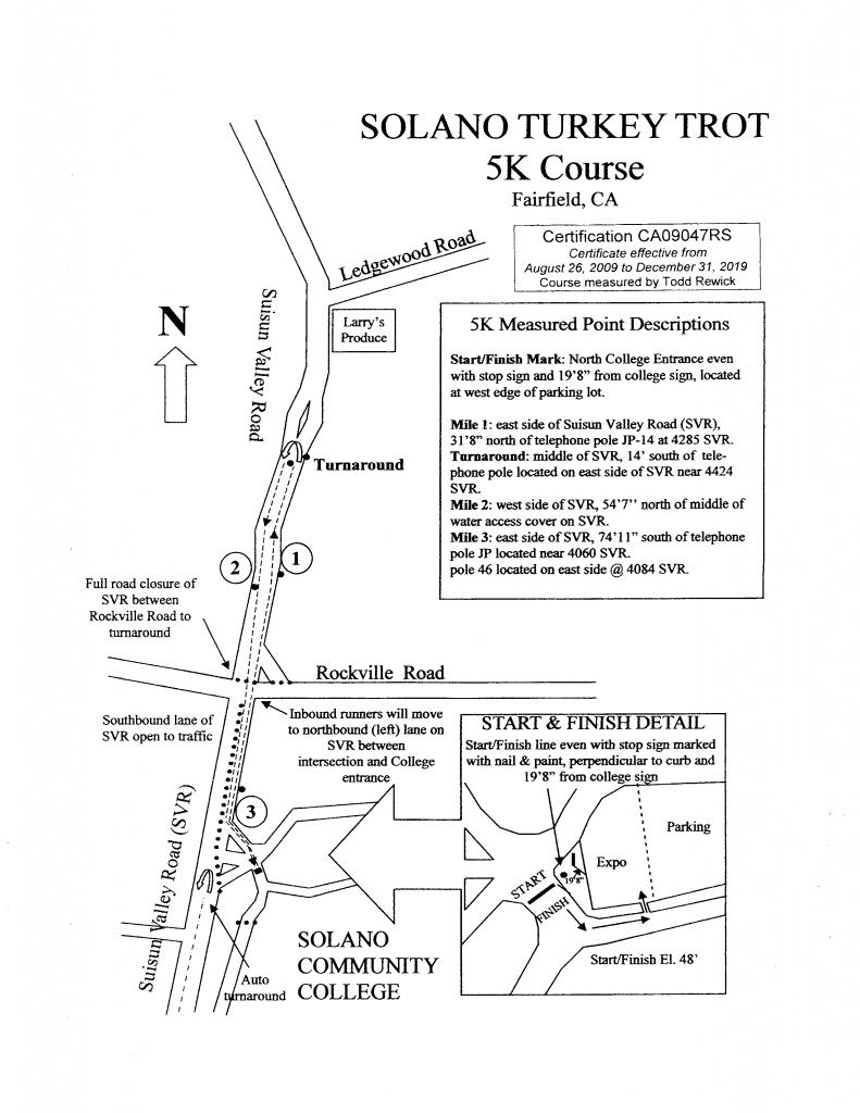 Solano Turkey Trot 5K Course Map
